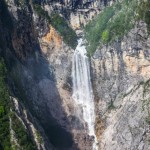 boka waterfall from the plane panoramic flights in slovenia; photo by: Tatjana Wojčicki