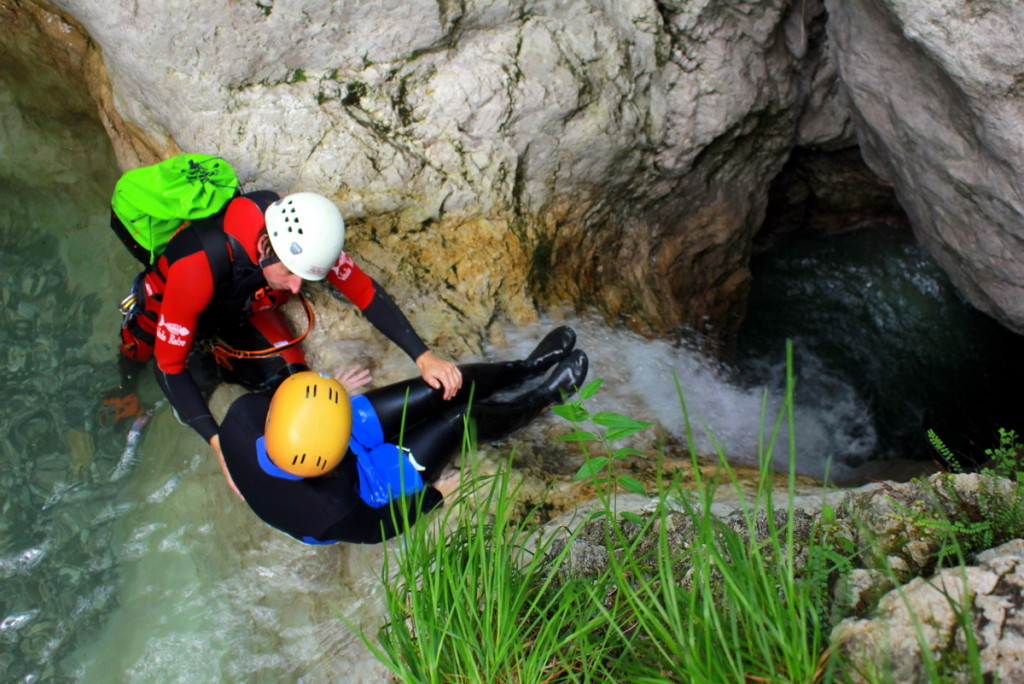 waterfall slide on canyoning in sušec