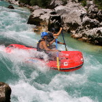canoeing the rapids on the lower part of the soča river