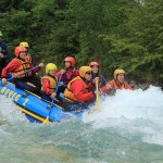 rafting on wild rapids of the soča river