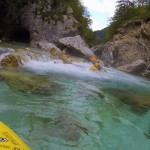 kayak course on a rainy day with the mists from soča river