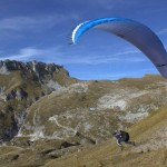 taking off with parachute from mt mangart; photo by: Tatjana Wojčicki