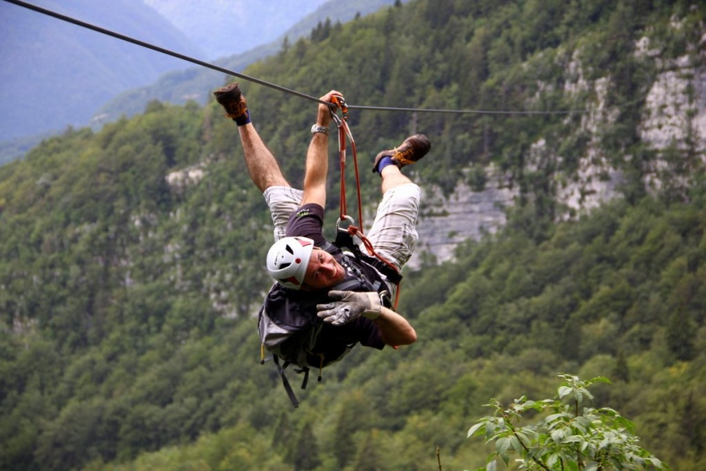 zip line in the soča valley slovenia; photo by: www.ziplineslovenia.si