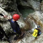 groups of friesnd following canyoning guide in sušec canyon