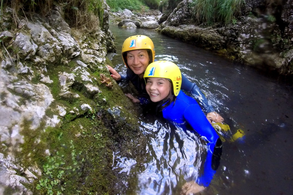 mother and daughter on family canyoning in sušec canyon