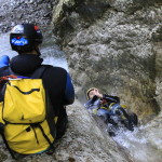 sliding the waterfalls backwards in sušec canyon bovec