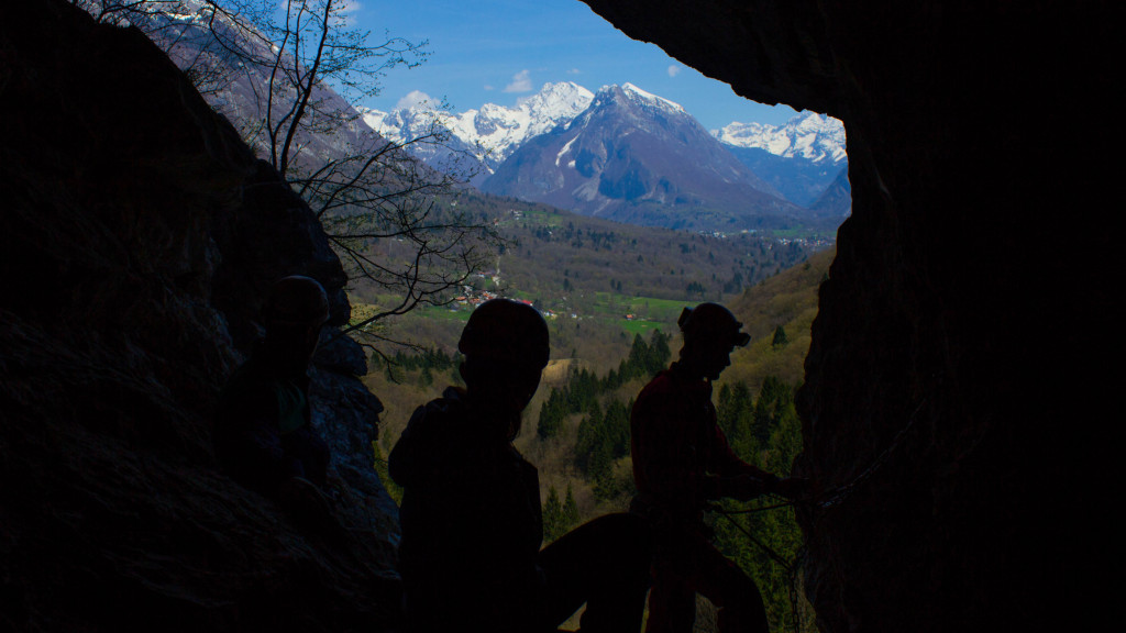 the last part of caving in srnica cave tour with view of bovec