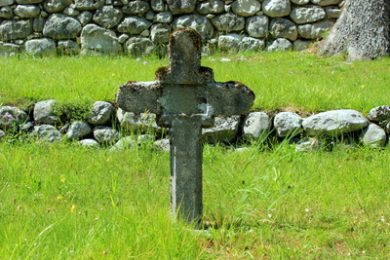 tombstone from first world war on military cemetery in soča village