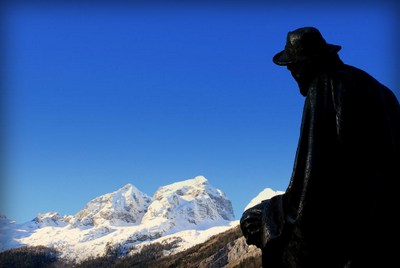 statue of julius kugy in trenta in triglav national park slovenia