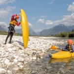 preparing for first kayak lesson on the soča river
