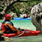 relaxing between two kayak lessons on the soča river