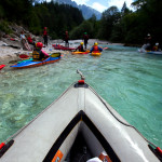 kayak and canoe group tour on the soča river