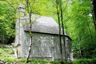 st leonard gothic church hidden in the forest in bovec slovenia