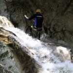 repelling the last waterfall in sušec canyon slovenia