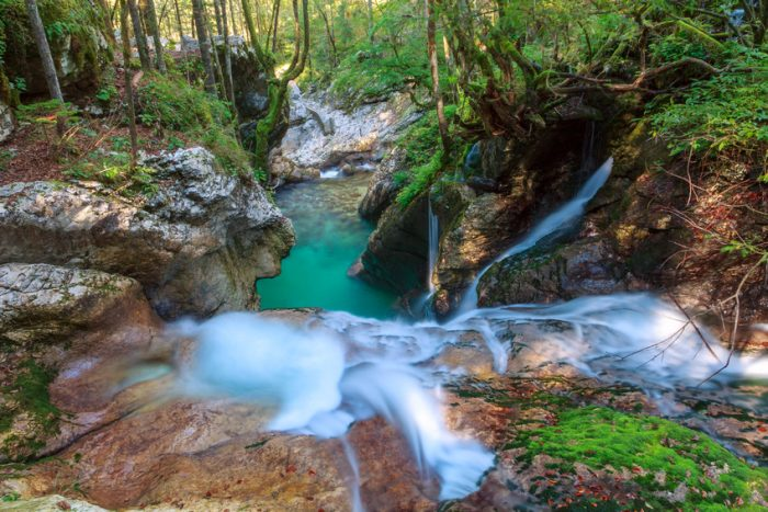 waterfalls and pools of lepenica river in šunikov vodni gaj slovenia