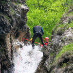 repelling fratarca canyon waterfall in triglav national park