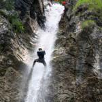 parabole waterfall repelling on canyoning tour in slovenia