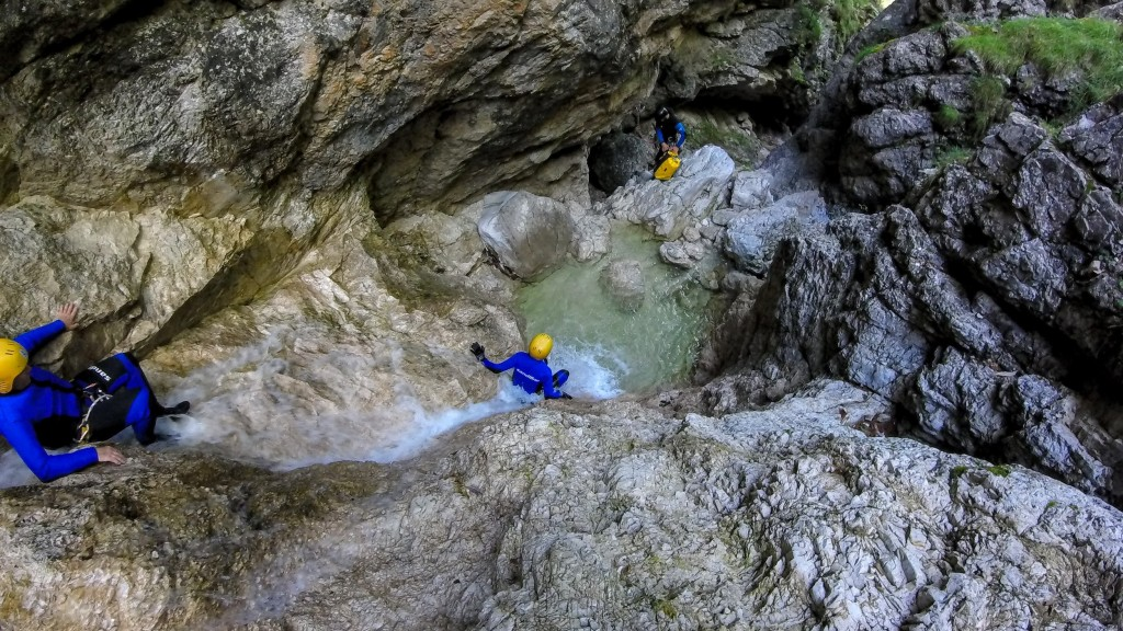 couple on fratarca canyoning tour in triglav national park