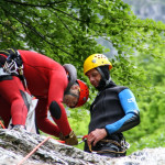 preparing the equipment for reppeling in fratarca canyon