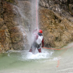 taking a shower unter the waterfall in fratarca canyon