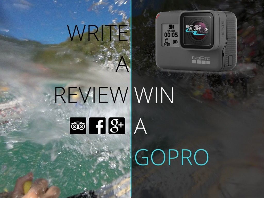 write a review of bovec rafting team and win gopro camera banner