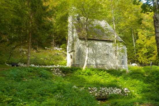 st leonard church in bovec surrounded by trees
