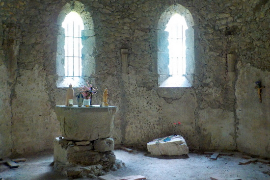 the remains of the altar in the gothic church of st Leonard in Bovec