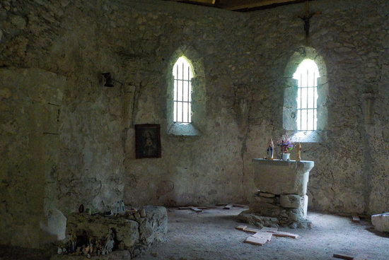 the remains of the presbytery and the altar in the gothic church of st Leonard in Bovec