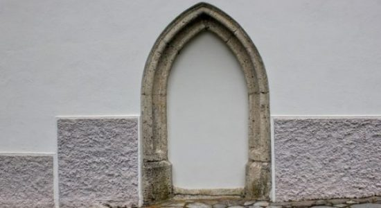 mysterious gothic portal at st ulrich church of bovec
