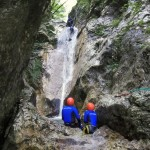 the last waterfall in the sušec canyon in slovenia