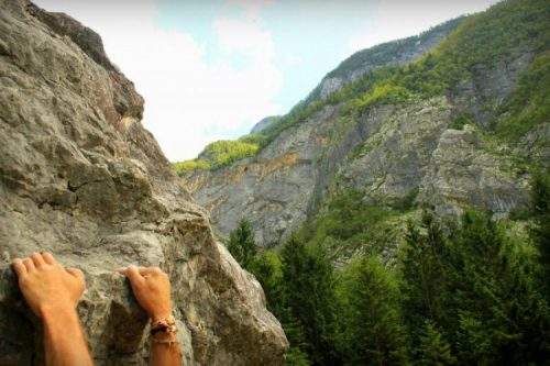 climbing rock boulder in trenta village slovenia