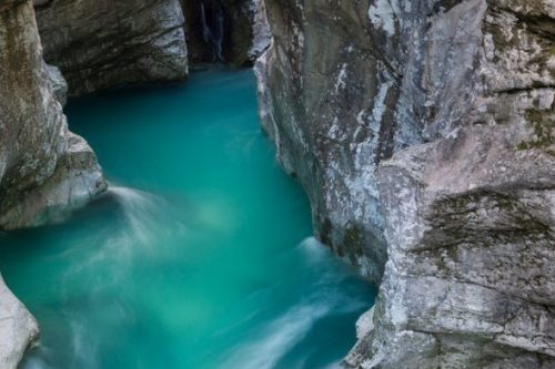 deep waters of great soča gorge in lepena in triglav national park