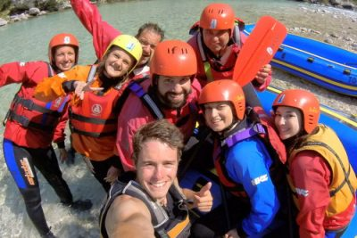 family selfie on rafting in slovenia