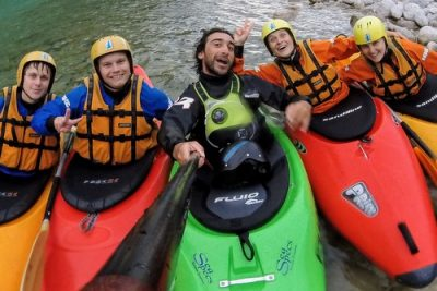 friends selfie with serkan on soča kayaking