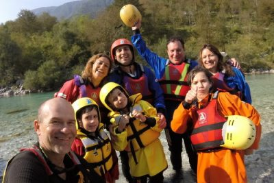 family selfie with tomaš on soča rafting