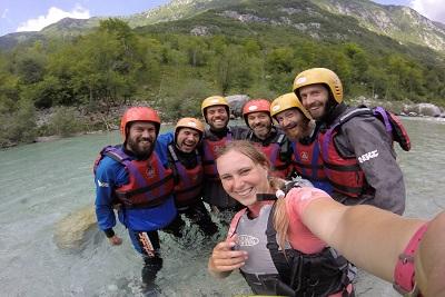 friends selfie on rafting on soca river