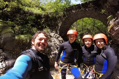 family selfie on canyoning in susec slovenia