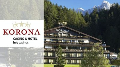 hotel and casino korona kranjska gora banner and logo