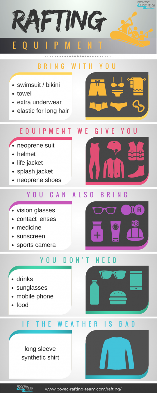 what to bring on soča river rafting trip infographics